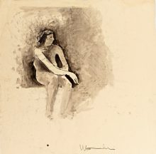 Joan Brown Seated in Studio 13, 1958