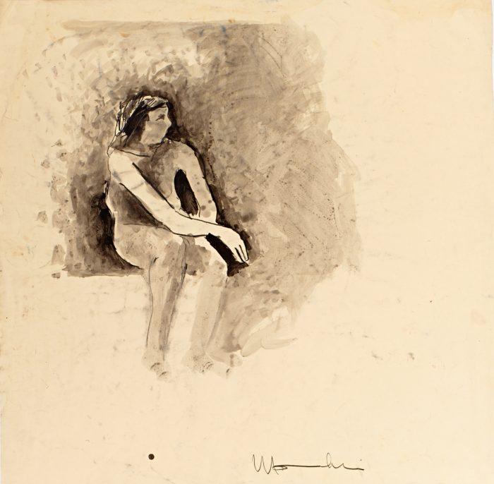 Joan Brown Seated in Studio 13, 1958