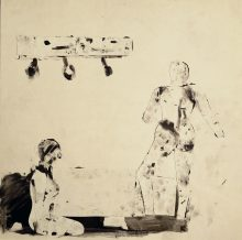 Collage and Ink Figure Study No. 35 [Joan Brown], 1963